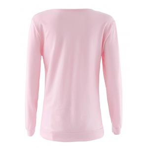 Lace Up Long Sleeve Sweatshirt - PINK S