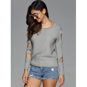 Cut Out Sleeve Knitted Sweater - GRAY XL