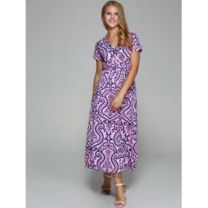 Crossover Collar Short Sleeve Printed Maxi Dress -