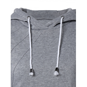 Pocket Design Drawstring Hoodie - GRAY L