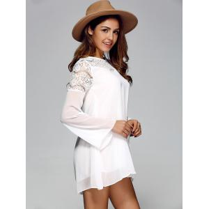 Openwork Bell Sleeve Chiffon Shift Dress - WHITE XL