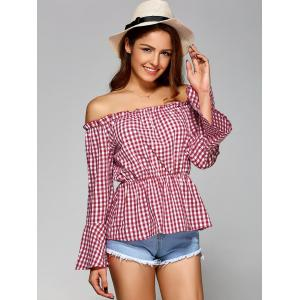 Off The Shoulder Flare Sleeve Plaid Blouse - RED XL