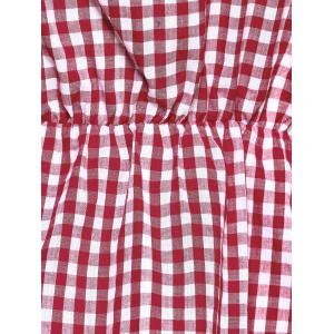 Off The Shoulder Flare Sleeve Plaid Blouse - RED L
