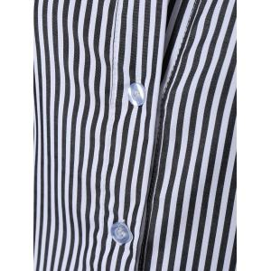 Striped Long Sleeve Button Up Polo Formal Shirt Dress -