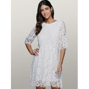 Three Quarter Sleeve Lace Skater Dress -