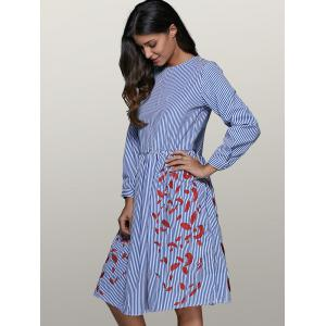 Round Neck Striped Leaf Embroidered Smock Dress -