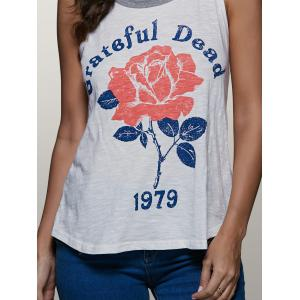 Round Neck Plant Print Fitting Tank Top -