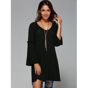 Flare Sleeve Smock Long Blouse -