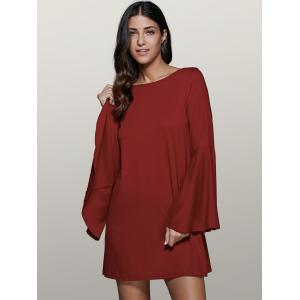 Bell Sleeve Short Tunic Dress - DARK RED 2XL