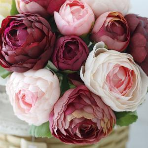 Wedding Bridal Bouquet Peony Artificial Flower - WINE RED