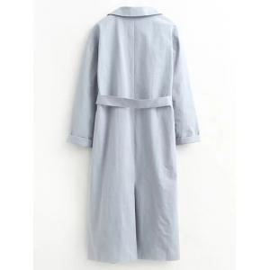 Long Wrap Belted Raglan Sleeve Maxi Trench Coat -