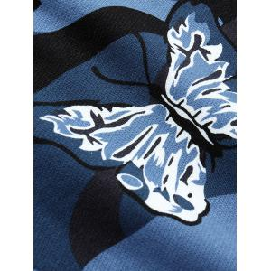 Camo Butterfly Print Long Sleeve Crew Neck Sweatshirt - SAPPHIRE BLUE M