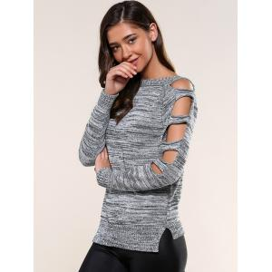 Cut Out Sleeve Heathered Sweater -