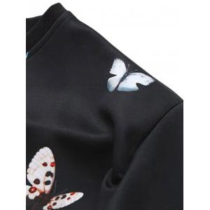 Loose Butterfly Colorful Sweatshirt - WHITE XL