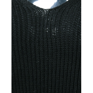 Lace-Up Back Knitted Sweater - BLACK M