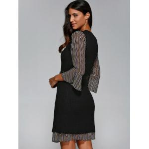 Belted Print Dress with Knitted Vest -