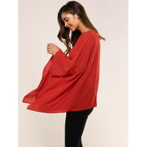 Slash Neck Asymmetrical Smock Blouse - RED ONE SIZE