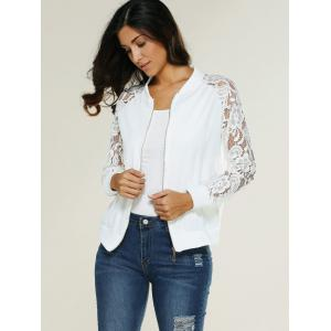 Lace Insert Bomber Zip Up Jacket - WHITE M