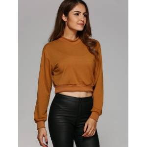 Round Neck Cropped Sweatshirt - EARTHY L