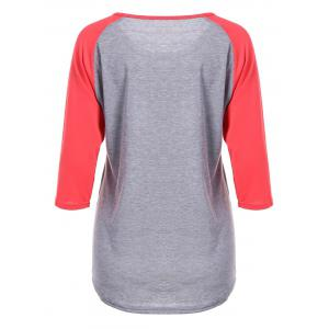 Happy Letters Print Raglan Sleeve T-Shirt - RED XL