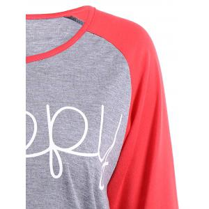 Happy Letters Print Raglan Sleeve T-Shirt - RED M
