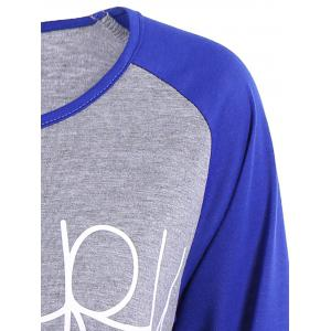 Happy Letters Print Raglan Sleeve T-Shirt - BLUE XL