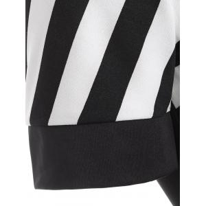 Striped Color Block Bodycon Dress - BLACK 2XL