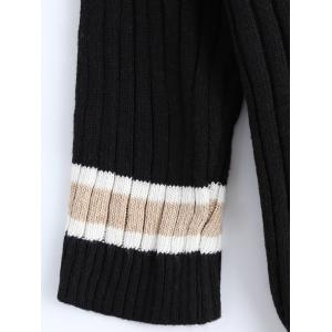 Loose Striped Vintage Sweater - BLACK ONE SIZE