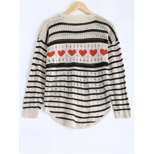 Striped Cut Out Sweater - BLACK ONE SIZE