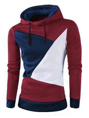 Hot IZZUMI Stylish Color Block Spliced Slim Fit Long Sleeve Hoodies For Men WINE RED M