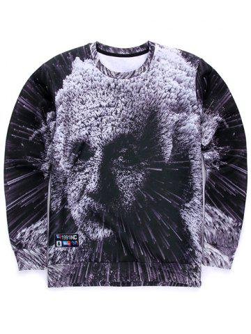 Store 3D Einstein Print Round Neck Long Sleeve Sweatshirt