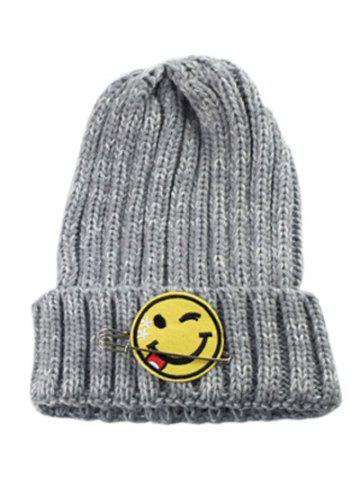 Trendy Winter Smile Face Safety Pin Knitted Hat GRAY