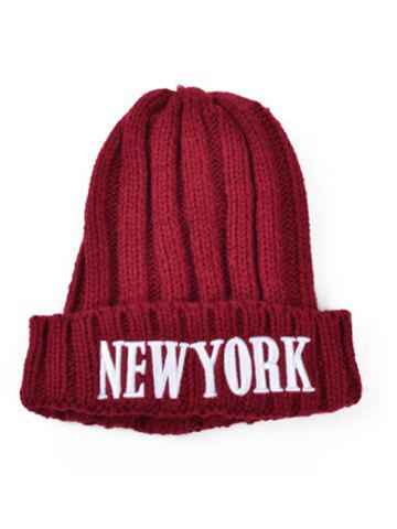Affordable Casual Embroidery New York Knitted Hat DEEP RED