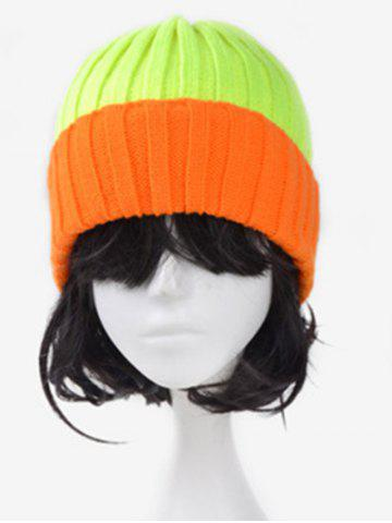 Best Character Fluorescence Color Block Knitted Hat FLUORESCENT YELLOW