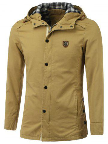 Outfits Badge Embellished Zip-Up Hooded Coat