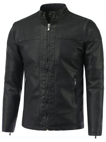 Outfit Stand Collar Causal Zip-Up PU-Leather Jacket