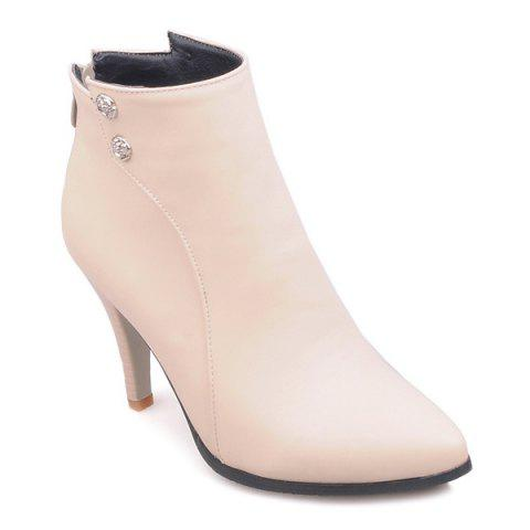 Fancy Pointed Toe Faux Leather Back Zip Boots
