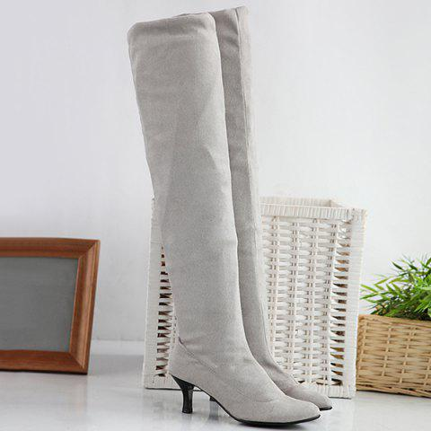 Trendy Flock Kitten Heel Round Toe Thigh Boots LIGHT GRAY 41