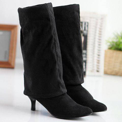 Affordable Flock Kitten Heel Round Toe Thigh Boots - 40 BLACK Mobile