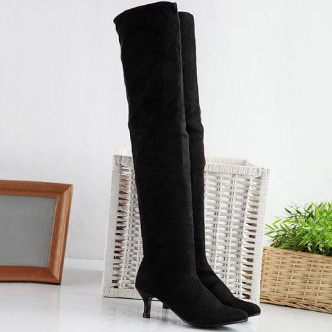 Affordable Flock Kitten Heel Round Toe Thigh Boots BLACK 38