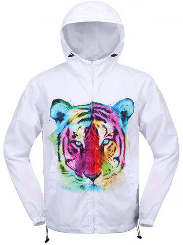 Cheap Elastic Cuff Tiger 3D Print Hooded Zip Up Jacket