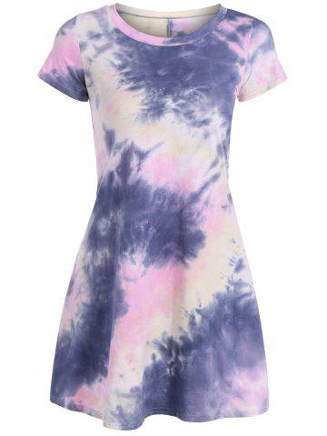 Latest Loose Tie-Dyed T-Shirt Dress COLORMIX XL