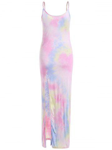 Outfits Slim Tie-Dyed High Slit Maxi Dress