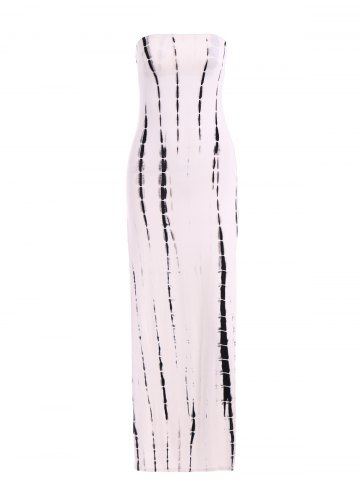 Unique Snake Print Side Slit Long Strapless Bodycon Dress