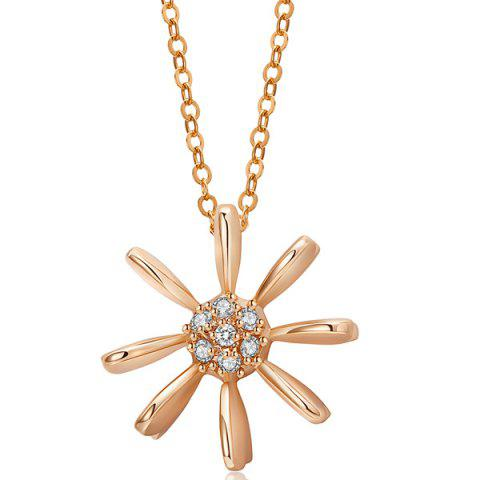 Cheap Rhinestone Sun Floral Pendant Necklace