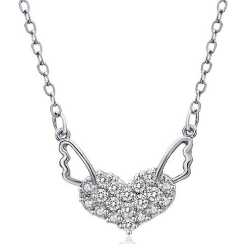 Affordable Heart Angel Wings Rhinestone Necklace