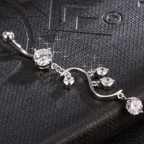 Outfits Rhinestone Navel Button - WHITE  Mobile