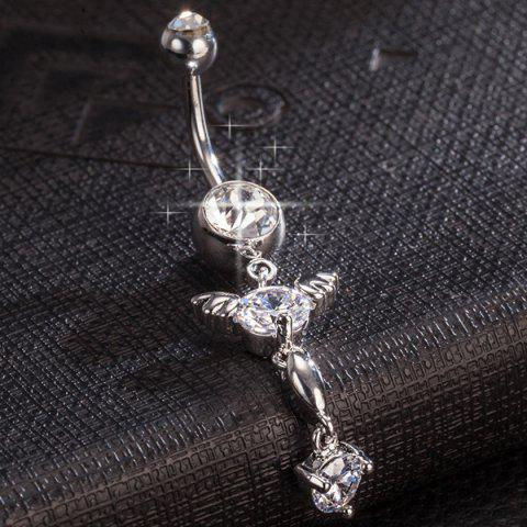 Fancy Rhinestone Layered Angel Wings Belly Button Jewelry - WHITE  Mobile