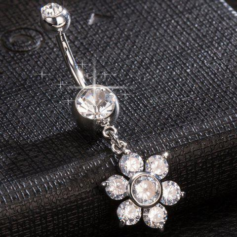 Online Layered Rhinestone Flower Navel Button - SILVER  Mobile