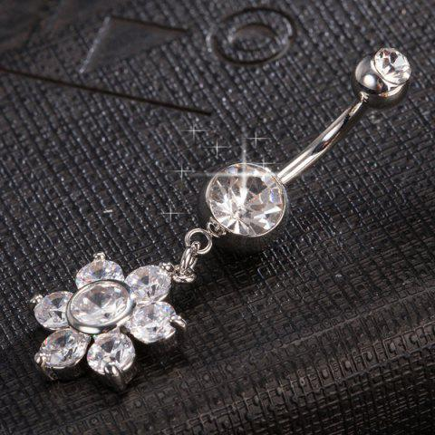 Hot Layered Rhinestone Flower Navel Button - SILVER  Mobile